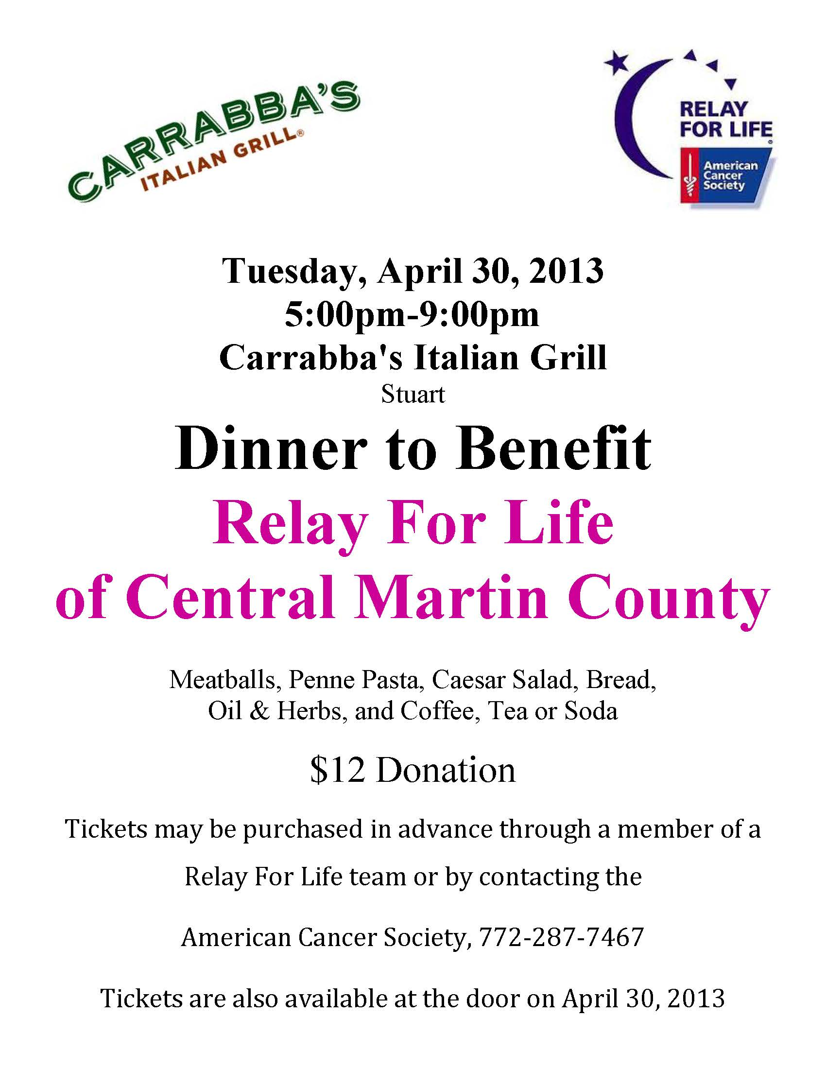 Carrabba's Dinner to Benefit American Cancer Society Relay ...  Carrabba's Di...